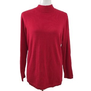 Charter Club Long Sleeve Mock Neck Red Sweater